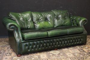 Chesterfield club three-seater sofa in pearly green leather