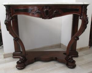 Consola en nogal Louis Philippe encimera de mármol - período 1850 - consola - buffet