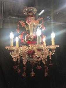 Люстра из муранского стекла с 6 рубиново-красными языками пламени