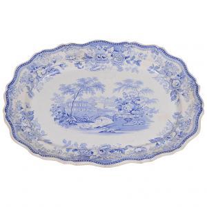 piatto inglese bianco/blu da parete o centrotavola