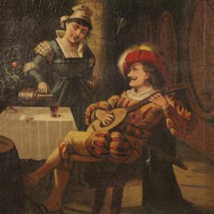 Dipinto italiano scena d'interno con musicista