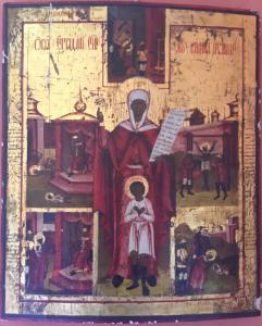 Ancient icon depicting the life of a saint