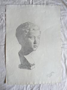 Charcoal drawing on paper depicting a marble bust of a boy.Signed: Federico Pietra 1914.Bologna.