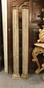 dars344 - n. 2 colonne in legno, mis. cm 25 x cm 196 h