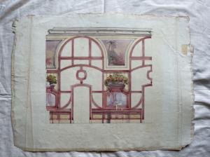 Aquarellzeichnung mit Fenstern und Innenräumen (Arturo Pietra-Archiv, Bologna).