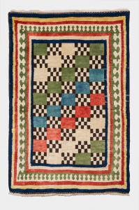 Antigua alfombra nómada policromada Gashgai (Kaskai)