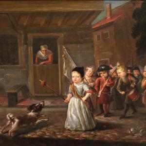 Gemälde Öl auf Brett aus dem 19. Jahrhundert