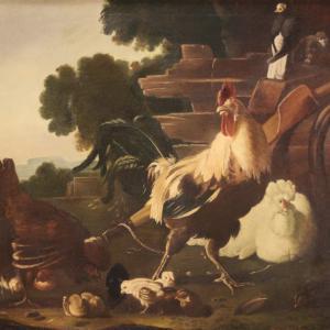 Большая подписанная картина XIX века