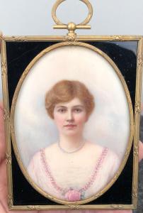 Miniature oil on ivory with female figure.