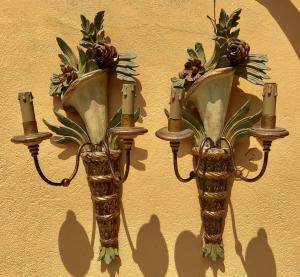 zwei Wandlampen (Applikationen) 1960er Jahre Genua