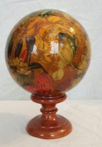 Wooden ball with decal with wooden base
