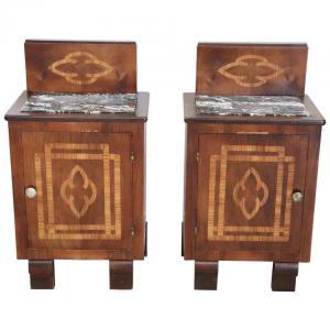 一对镶嵌艺术装饰风格的大理石床头柜,价格面议