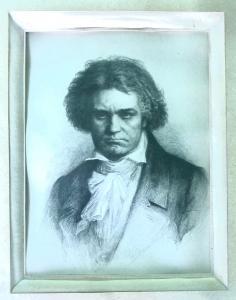 Framed print depicting Mozart.