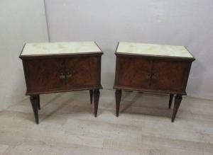 一对老式胡桃木床头柜-1950年代/ 60年代-现代古董-fake玛瑙上衣