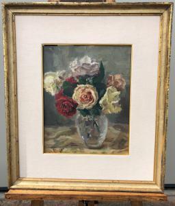 Dipinto olio su tela raffigurante vaso con fiori.Inghilterra.