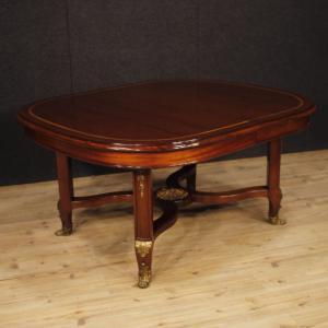 Tavolo francese allungabile in legno di mogano