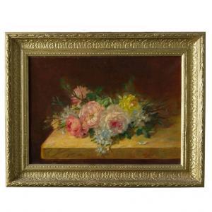 """""""Rosas na mesa"""" pintura francesa antiga, óleo sobre tela"""