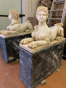 Carrara marble sphinx pair