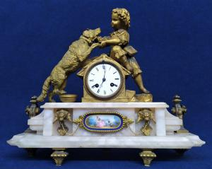 Grande orologio da tavolo in bronzo e alabastro -Ph. Mourey- Francia XIX sec.