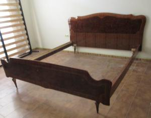 Vintage double bed 50 years 60 - rosewood with inlays - modernism - beautiful!