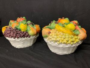 Pair of ceramic fruit baskets