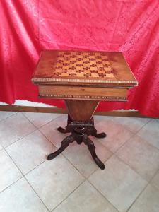 Rare funnel table for work and play double book top Victorian period inlaid inlaid mahogany walnut maple ebony other wood essences l54xp40h80 open 79x54 guarantee terms of the law