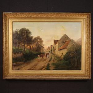 Dipinto francese paesaggio firmato 1899