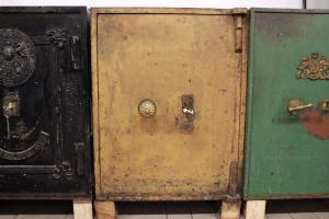 Cassaforte apribile marrone chiaro originale inglese del XIX secolo
