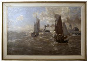 Erwin Carl Wilhelm Günther, Steamer e barcos à vela no mar, Óleo sobre tela, século XIX-XX.