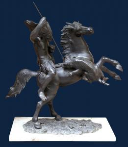 Tommaso Campajola, Guerriero a cavallo con lancia e fiera Bronzo, Base in marmo, h cm 60