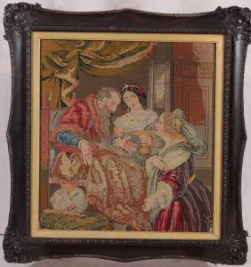 Antique little dot embroidered picture from 1800 English