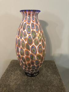 带有Murrine的玻璃花瓶,Moretti制造,Murano。