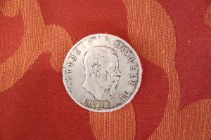 Collector's coin in silver Kingdom of Italy 5 lire Vittorio Emanuele II 1872 euro 35.00