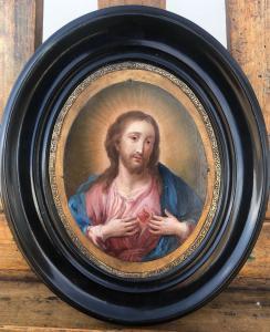 Dipinto olio su rame raffigurante Sacro Cuore di Gesù'.