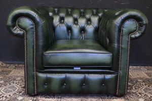 Poltrona originale inglese Chesterfield club in pelle verde inglese