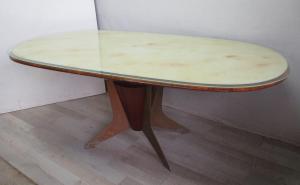 Tavolo ovale vintage in mogano e ferro - piana in vetro -anni 50 60 modernariato