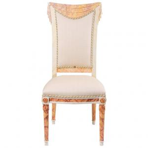 Special Single Draped Chair, Painted Faux Marbre