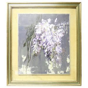 """Dipinto olio su tela Giancarlo Cazzaniga (1930-2013) """"Glicine"""" PREZZO TRATTABILE"""