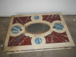 lacquered wooden platform with gold leaf frames from the 1920s