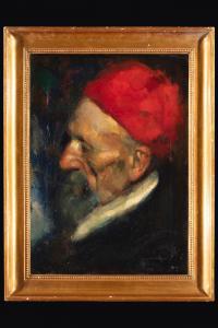 Dipinto con volto di vecchio ottomano