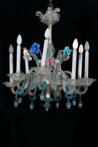 Lampadario in vetro Venezia sec. XIX con otto punti luce