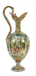 "Extraordinary vase with ruby and gold luster depicting ""the descent of the Magi"" by Benozzo Gozzoli signed Cantagalli cm.67"