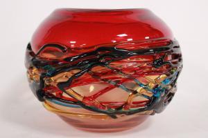 Vaso a forma di sfera in vetro di Murano firmato Cammozzo Enrico