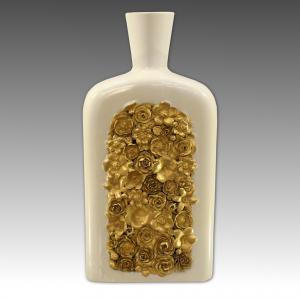 Giò Ponti Blumenflasche weiße Porzellangoldmanufaktur von Doccia