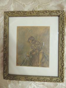 A 15 pastel drawing by M. Brunetti, dated 1932, 12 x 15 cm