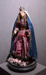 Cera Madonna sob vidro de sino, Toscana, século XIX