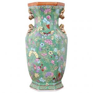 Gran jarrón oriental vintage en cerámica policromada PRECIO NEGOCIABLE