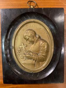 Bronze plaque with St. Luigi Gonzaga