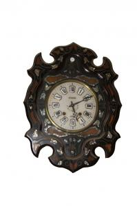 Hanging clock in ebony with Louis Philippe mother-of-pearl inlay from 1800