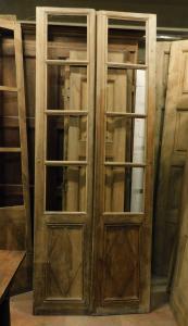pti663 - porta a vetri semplice a due ante, misura cm l 105 x h 272 x sp. 2,5